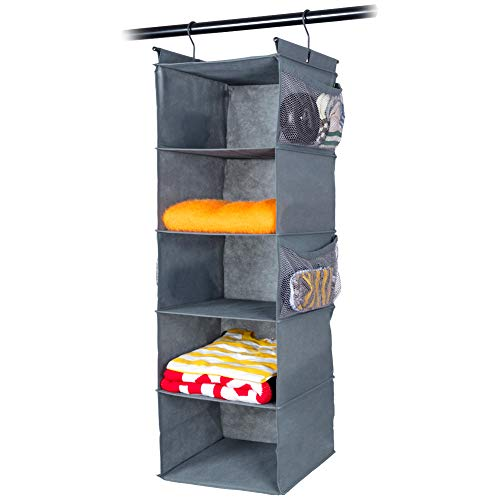MAX Houser 5 Shelf Hanging Closet Organizer,Space Saver, Cloth Hanging Shelves with (4) Side Pockets,Foldable,(Grey)