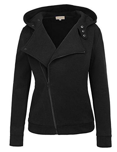 Open Coat Cloth (Kate Kasin Oblique Zipper Hooded Open Front Slim Fit Jacket Pea Coat Sweatshirt For Winter (M,Black))
