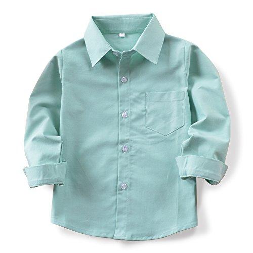 OCHENTA Boys' Long Sleeve Button Down Oxford Shirt, Little Big Kids Dress Tops N004 Light Green Tag 100CM - -