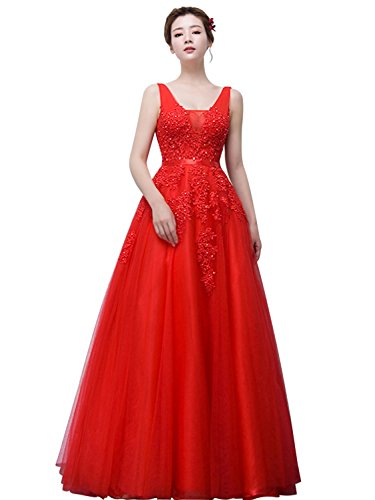 Women's Double V-Neck Tulle Appliques Long Evening Cocktail Gowns (Red,4) (Long Cocktail Evening)