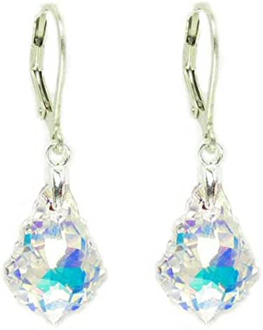 Queenberry Clear Aurora Borealis Swarovski Elements Crystal Sterling Silver Leverback Dangle Earrings