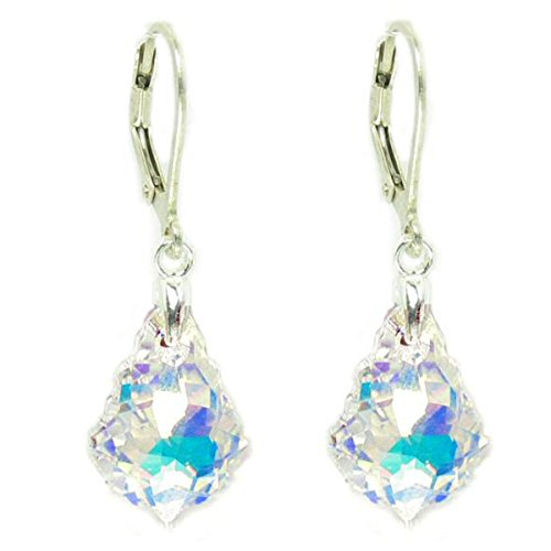 Clear Aurora Borealis Sterling Silver Leverback Dangle Earrings made with Swarovski Crystal