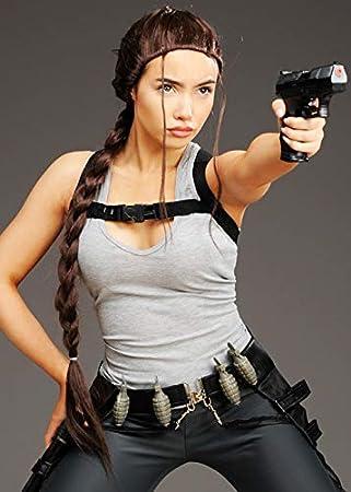 Magic Box Peluca de Estilo Lara Croft con Trenzado marrón para ...