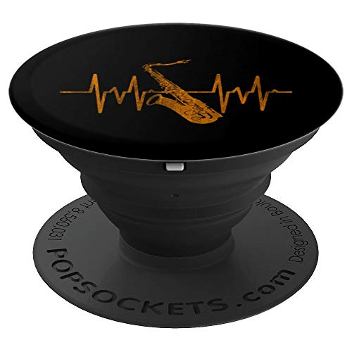 Heartbeat Saxophone Pop Socket - Jazz Music Saxophonist - PopSockets Grip and Stand for Phones and -