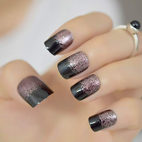 CoolNail Black Light Soft Coffee Brown Glitter French False Nail Square Head Shimmer Fake Nails Tips Bride Daily Office Summer Wear -