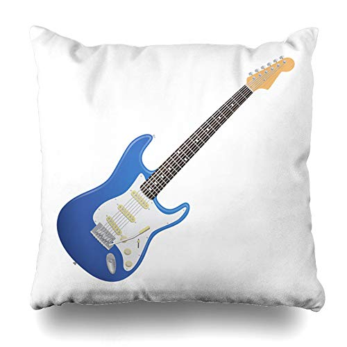 Ahawoso Throw Pillow Cover Pillowcase Neck Blue Fender February 10 Electric Guitar Rock Amp Audio Bridge Bright Design Zippered Square Size 16 x 16 Inches Home Decor Cushion Case