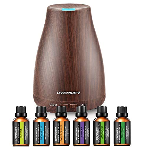 URPOWER Classical Essential Oil Diffuser with 6 Bottles 100% Pure Essential Oils, Gift Set Aroma Cool Mist Humidifier with 7 Color LED Lights Changing for Home, Office, Aromatherapy