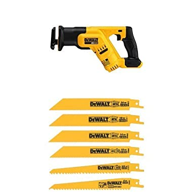 DEWALT DCS387B 20-volt MAX Compact Reciprocating Saw with Tool w/ DW4856 Metal/Woodcutting Reciprocating Saw Blade Set, 6-Piece