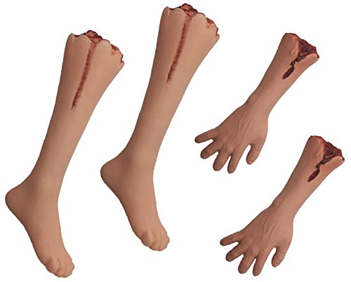 Leg Prop (Halloween Large Fake Dead Bloody Body Parts Bundle - Severed Legs and Arms - Plastic Party Prop Decoration (Set of 4))