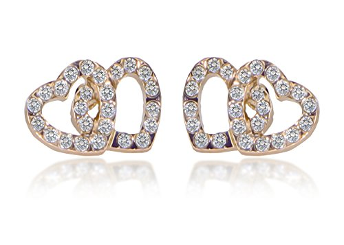 Jewels Fashion Surgical Steel Double Heart Stud Earrings for Girls (GOLD AND - Double Gold Heart Earrings