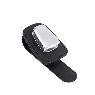 AUXMART Car Visor Sunglasses Leather Holder, Sunglasses Clip Suitable for All Models, Black: Automotive