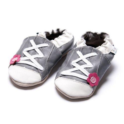 Jinwood designed by amsomo - Patucos de Piel para niña Gris - sportive flower grey soft sole