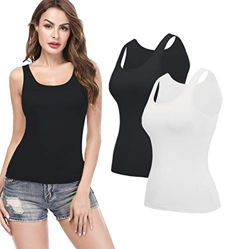 (KIWI RATA Camisoles for Women with Built in Bra, Summer Sleeveless Shirt Casual, Padded Bra Women cami, Wide Straps Tank Top for Yoga 2 Pack Black White XXL)