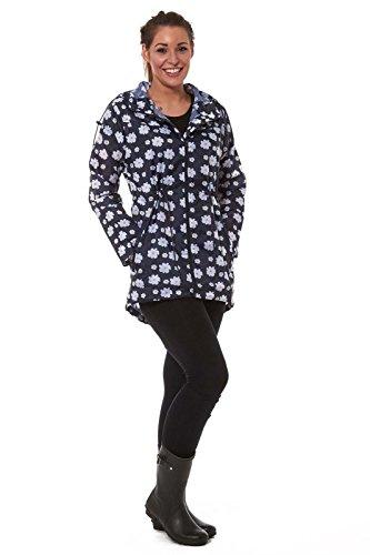 RainyDays Womens Printed Kagool | Rain Coat | Packa Jacket | Kag Fishtail Navy Daisy