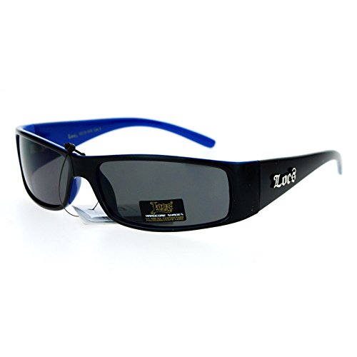 Locs 2 Tone Rectangular Cholo Gangster Warp Biker Thick Arm Sunglasses Black ()