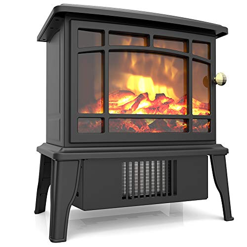 500w Small Desktop Fireplace Heater with 3D Realistic Flame Effect, Portable Electric Safe Heater for Indoor Use, Over-heat Protection, Decoration for Home Office, A Great Gift for Winter Festival