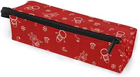 Lápiz Bolsa Bolso Estuche Bolsa Muñeco de nieve rojo Arte Patrón Navidad Maquillaje Gafas de sol cosméticas para niñas Niños Escuela de viaje: Amazon.es: Oficina y papelería