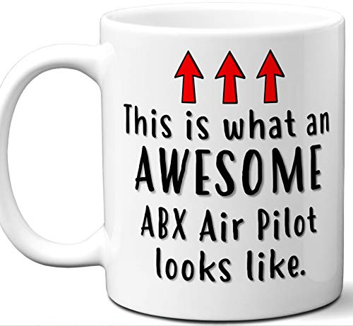 Pilot Gifts For Women, Men, Coffee Mug. ABX Air. Funny Personalized Aviation Themed Valentines Retirement Idea Dad Unique Student Christmas Fathers Day Mothers Day Birthday.