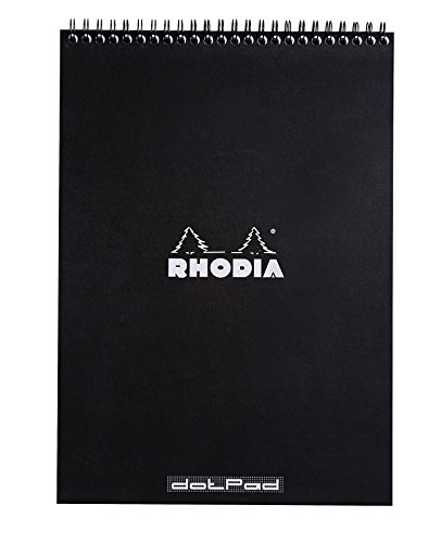 Rhodia Wirebound Notepads - Dots 80 sheets - 8 1/4 x 11 3/4 in. - Black cover