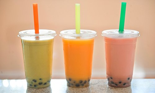 - 100 Sets 16 oz. Plastic CLEAR Cups with Flat Lids And Fat Straws for Bubble Boba Tea Smoothie By KC commerce