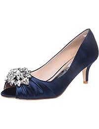 Womens Low Heel Dress Pumps Rhinestone Open Toe Wedding...