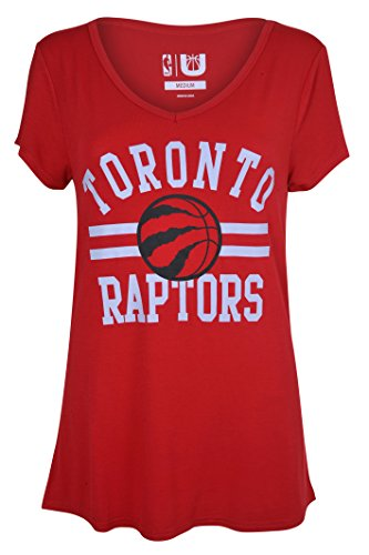 fan products of NBA Women's Toronto Raptors T-Shirt V-Neck Relaxed Fit Short Sleeve Tee Shirt, Large, Red