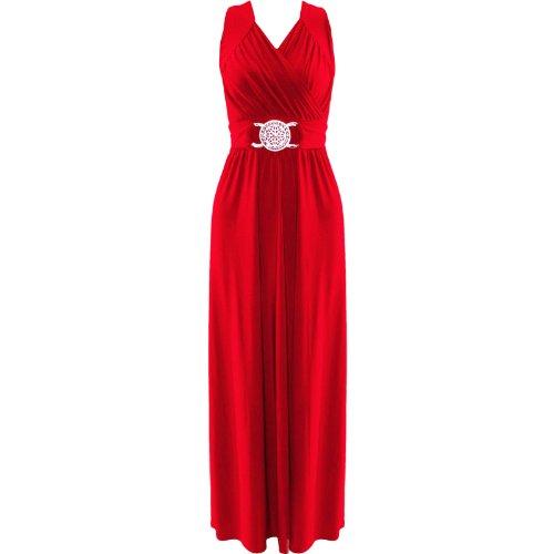 (womens plus size buckle tie back maxi dress (STY) Damen Plusgröße Schnalle lange Kleid ((eu 52/54) (uk 24/26), (red) rot)