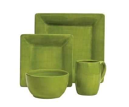 Amazon.com: Tabletops Unlimited Espana Dinnerware, Solid Green 4 ...