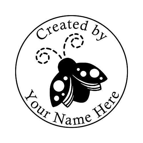 Custom Handmade Created by Name Stamp Personalized Ladybird Lable Signet-Round 1.8inch Seal -