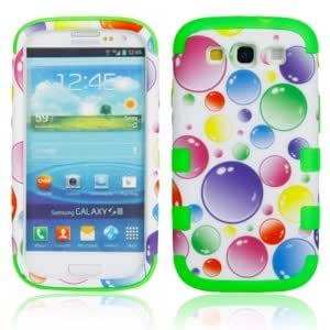 Plastic and Silicone Protective Case with Big Bubble Pattern for Samsung S3 i9300 Green