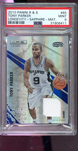 - 2010-11 Panini Rookies & Stars Longevity Sapphire Materials #65 Tony Parker 21/25 Game-Used Game-Worn Jersey NBA Graded Basketball Card MINT PSA 9