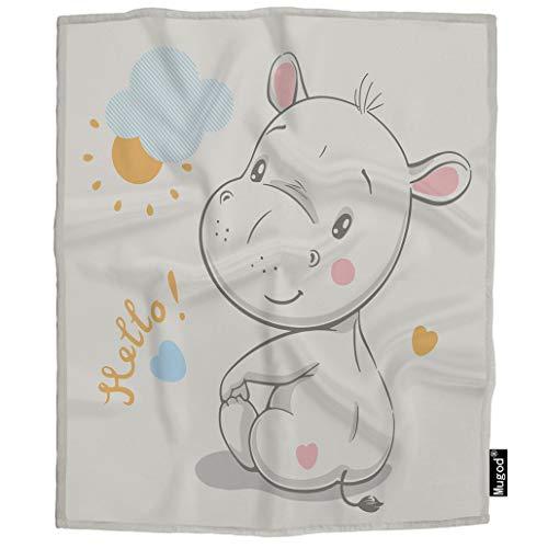 Mugod Hippo Throw Blanket Hello Lettering Cute Adorable Cartoon Hippopotamus Sun Cloud Soft Cozy Fuzzy Warm Flannel Blankets Decorative for Baby Toddler Swaddle Dog Cat 30X40 Inch (Hippopotamus Sofa)