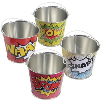 U.S. Toy (TU242) Assorted Super Hero Comic Book Theme Mini Metal Party Buckets (12 -