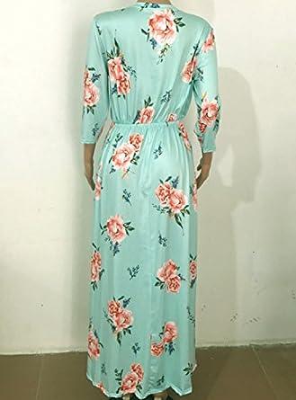 ab3e5e096d641 AiSi Robe Longue Fleurie Femme Robe Imprimee avec Poche Col Ronde Manche 3 4  Bleu  Amazon.fr  Vêtements et accessoires