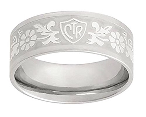 ''Daisy Flower Scroll'' - Stainless Steel - CTR Ring - J125 (8.5) by One Moment In Time