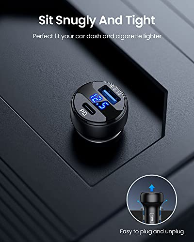 INIU Car Charger, 66W 6A Metal Car Adapter, 2-Port (USB C+USB A) PD 3.0 & QC 4.0+ Fast Car Charger for iPhone12/12 Pro/Max/Mini/11/XR/8, Samsung S21 Note10, Pixel, iPad,Laptops, AirPods, Switch, etc.