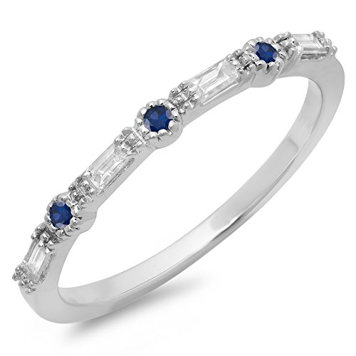 (Dazzlingrock Collection 14K Round Cut Blue Sapphire & Baguette Cut White Diamond Anniversary Wedding Band, White Gold, Size 7.5)