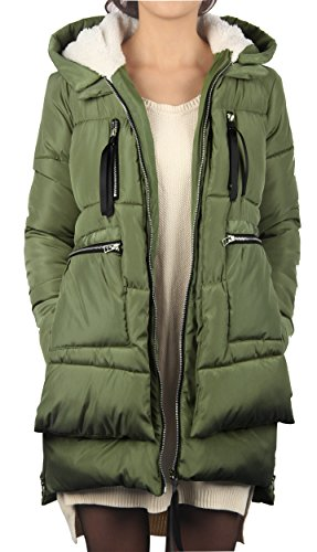 4How+Women%27s+Parka+Down+Jacket+Hooded+Lined+Faux+Fur+Thicked+Winter+Coat+Light+Green+US+Size+12-14