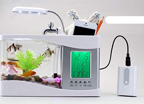 Mini Acuario USB Peces De Escritorio/Tanque De Peces Pequeños con LED Reloj,Black: Amazon.es: Deportes y aire libre