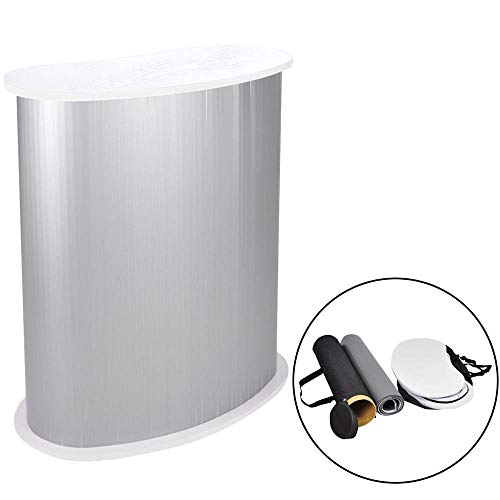 (Yescom Portable Trade Show Podium Table Display Exhibition Counter Stand w/White Top Carrying Bag)