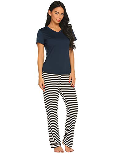 Ekouaer Women's Pajamas Short Sleeve Sleepwear Scoop Neck Nightwear Stripe Printed Two Piece PJs Set, Champlain Color, X Large -