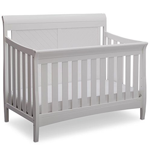 Delta Children Bennington Elite Sleigh 4-in-1 Convertible Crib, Bianca White