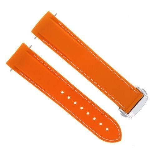 22 mm Rubber Band Strap Clasp for Omega Seamaster Planet OceanオレンジWS # 45dp B07D6PG3YH