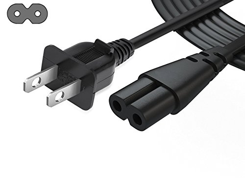 8 Outlet Power Console - iafer Figure of 8 Power Cord Not Polarized Cross-section Shotgun Connector for Radio Equipment Double Insulated Radios Audio-visual Equipment Video Game Consoles(IEC 60320 C7/C8 coupler,6.6FT)