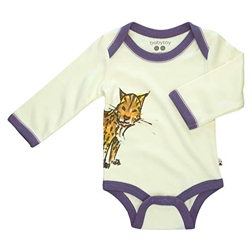 Babysoy Jane Goodall Long Sleeve Animal Pattern Bodysuit (Lynx, 0-3 ()