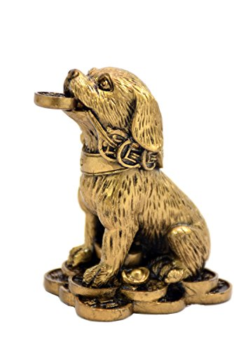 Horoscope Coin - 2018 Chinese year of dog Horoscope Chinese Zodiac Handmade Color Resin Dog With Coin Collectible statue Figurine Sculpture (bronze)