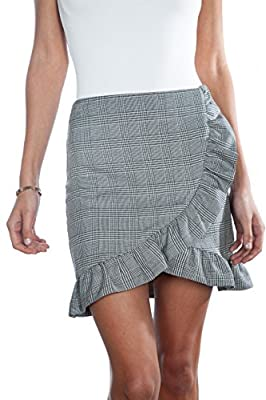 shopatniche Glen Plaid Ruffled Skirt by Necessary Objects