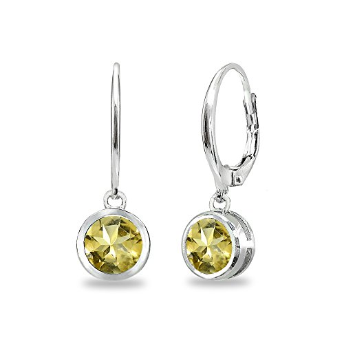 Sterling Silver Citrine 6mm Round Bezel-Set Dangle Leverback Earrings -
