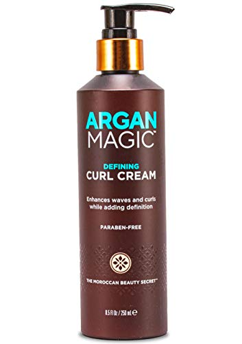 ARGAN MAGIC Defining Curl Cream - Enhances Waves and Curls While Adding Definition | Conditions, Detangles, and Reduces Frizz | Paraben Free (7.5 Ounce / 220 Milliliter)