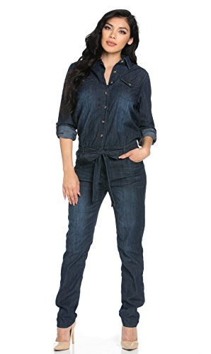 Belted Long Sleeve Collared Dark Denim Jumpsuit (Plus Sizes Available)